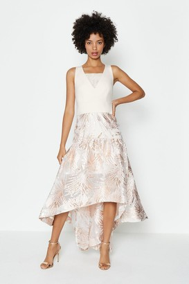 Coast Drop Waist Clipped Jacquard Midi Dress