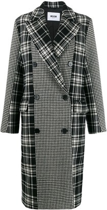 MSGM Plaid And Houndstooth Double-Breasted Peacoat