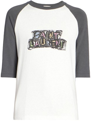 Saint Laurent White And Grey Raglan T-shirt