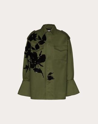 Valentino Embellished Chino Gabardine Peacoat Women Military Green Cotton 100% 38