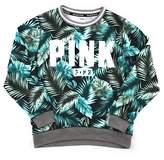Victoria's Secret PINK Collegiate Crew Sweatshirt Tropical Fern