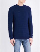 Topman Topman Grid-patterned Boxy-fit Knitted Jumper
