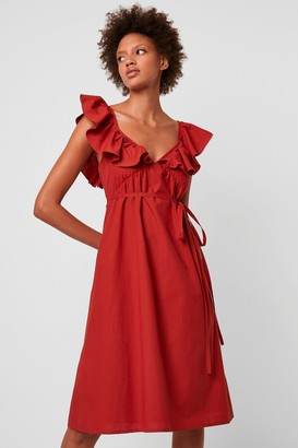 French Connenction Azana Ruffle V-Neck Midi Dress