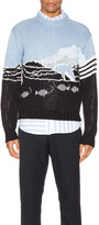 Thom Browne Dolphin And Sea Scenic Pullover in Navy | FWRD
