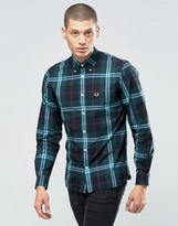 Fred Perry Shirt With Bold Check In Carbon Blue In Slim Fit