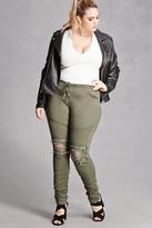 Forever 21 FOREVER 21+ Plus Size Moto Skinny Jeans