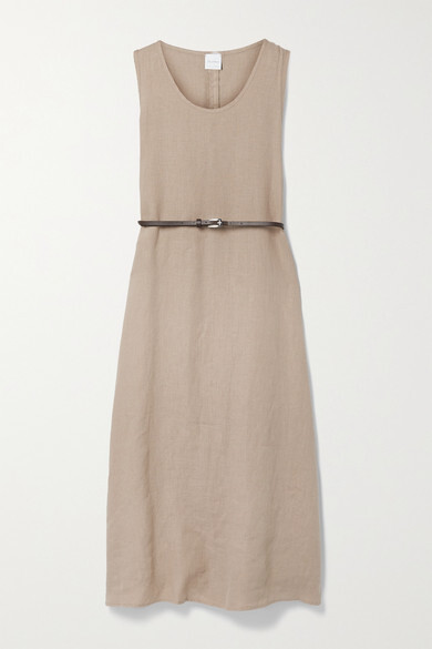 Max Mara + Leisure Nettuno Belted Linen Midi Dress - Beige