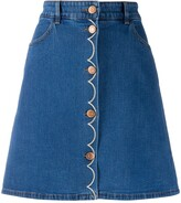 See by Chloe button down embroidered denim mini skirt