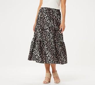 Halston H by Petite Animal Printed Washed Satin Midi Skirt