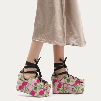 Public Desire Uk Storm Embroidered Lace Up Flatforms