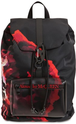Alexander McQueen Floral Printed Nylon Backpack
