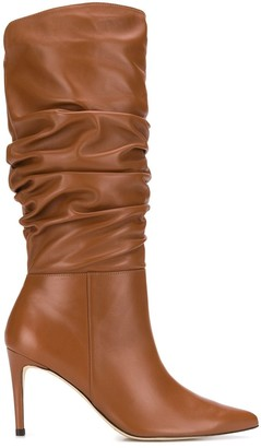 Alexandre Birman Ruched Leather Boots