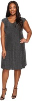 London Times Plus Size Metallic Knit V-Neck Fit & Flare Dress