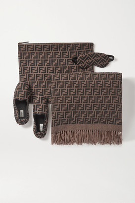 Fendi Cashmere And Silk-blend Jacquard Travel Set - Chocolate