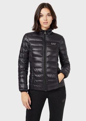 Ea7 Puffer Jacket With Full-Length Zip Closure