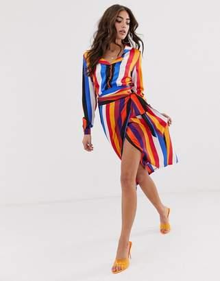 Never Fully Dressed contrast stripe wrap midi skirt in multi