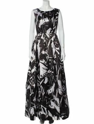 Alice + Olivia Printed Long Dress Black