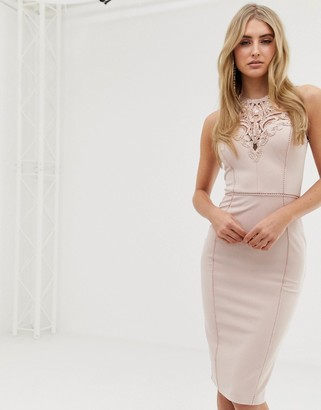 Lipsy lace detail high neck bodycon dress in pink