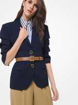 Michael Kors Double Crepe Sable Push-Up Sleeve Blazer