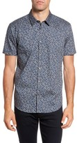 John Varvatos Men's Trim Fit Regal Blue Floral Sport Shirt