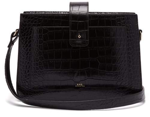 A.P.C. Albane Crocodile Effect Leather Shoulder Bag - Womens - Black