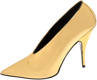 Stella McCartney Metallic Gold Faux Patent Leather V Neck Pointed Toe Pumps Size 38