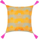 The Well Appointed House Torrance Neon Orange Embroidered Pillow With Hot Pink Tassels