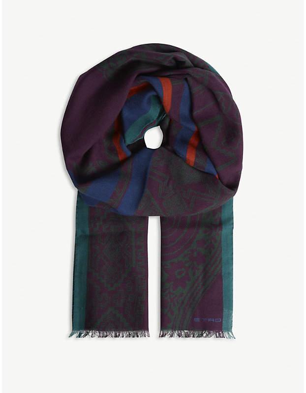 Etro Aztec paisley print wool scarf