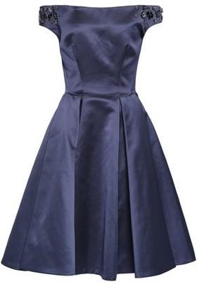Zac Posen Off-the-shoulder Embellished Duchesse-satin Dress
