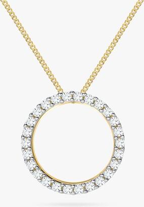 IBB 9ct Gold Cubic Zirconia Circle Pendant Necklace, Gold