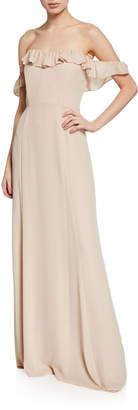 WAYF The Harlow Off-the-Shoulder Ruffle Gown