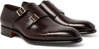 Santoni Cap-Toe Leather Monk-Strap Shoes