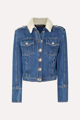 Balmain Button-embellished Shearling-trimmed Denim Jacket - Blue