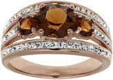 JCPenney FINE JEWELRY Brown and White Crystal 18K Rose Gold Over Silver 3-Stone Ring