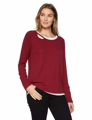 Democracy Women's Long Sleeve 2FER with Cut Out Neck and TIE Back