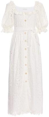 Borgo de Nor Corine Belted Lace Puff-Sleeve Dress