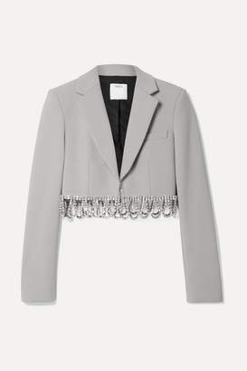 Area Cropped Crystal-embellished Woven Blazer - Stone