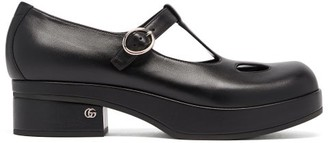 Gucci T-bar Leather Mary-jane Pumps - Black