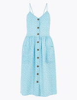 Per Una UsMarks and Spencer Pure Cotton Leaf Print Midi Slip Dress