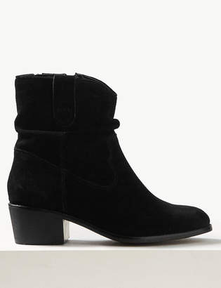 M&S CollectionMarks and Spencer Suede Slouch Western Block Heel Ankle Boots