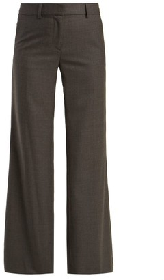 Nili Lotan Irene Wide-leg Wool-crepe Trousers - Grey