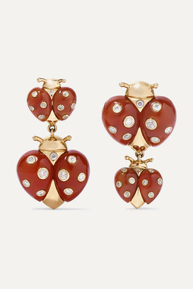 Yvonne Léon 18-karat Gold, Agate And Diamond Earrings - one size