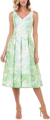 Kay Unger Taylor Abstract Jacquard Midi Dress
