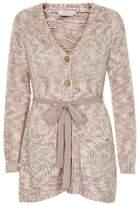 Cream Wool-Blend Belted Cardigan