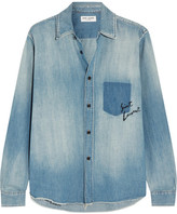 Saint Laurent Oversized Embroidered Denim Shirt - Mid denim