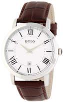 HUGO BOSS Men's Ambassador Croc Embossed Leather Strap Watch