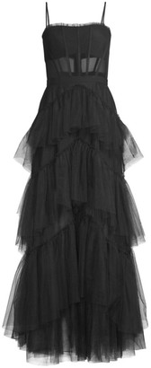 BCBGMAXAZRIA Layered Tulle & Mesh Sleeveless Corset Gown