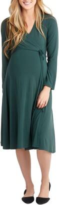 Nom Maternity Tessa Long Sleeve Jersey Maternity/Nursing Wrap Dress
