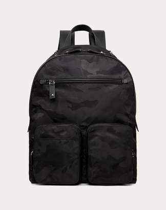 Valentino Garavani Uomo Nylon Camouflage Noir Backpack Man Black Polyamide 93%, Acrylic 7% OneSize
