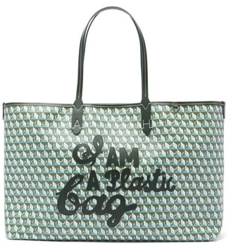 Anya Hindmarch I Am A Plastic Bag Recycled-canvas Tote Bag - Green Multi